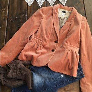 J crew velvet blazer-EUC- orangish/apricot
